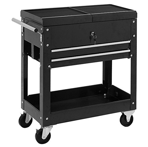 Black Rolling Mechanics Tool Cart With 2 Drawers 220LBS Capacity Tool Chest Roller Utility Storage Cabinet Tool Box Organizer Garage Craftsman Toolbox Large Storage Space Easy To Move - Allen Fairview