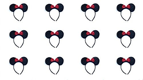 Minnie Mouse Ears Sparkle with Red Bow (Lot of 12) by Perfect Princess - Bulk Minnie Mouse Ears