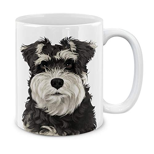 (MUGBREW Cute Schnauzer Puppy Dog Full Portrait Ceramic Coffee Gift Mug Tea Cup, 11 OZ)