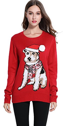 *daisysboutique* Women's Christmas Cute Puppy Dog Print Knitted Sweater Girl Pullover (X Small, Red)