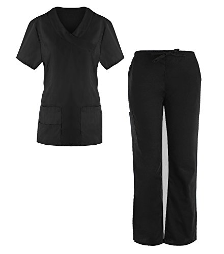 G Med Women's 4 Pockets Scrub Top and Pant 2 PC - Hawaii Coral Black