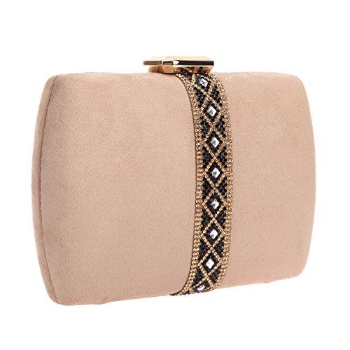 For Bags Beige Clutch Women Bonjanvye Purses Velvet Diamonds Evening nxPwqxS1HU