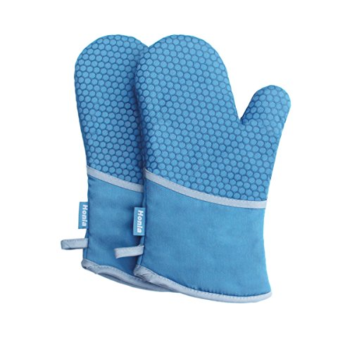 Honla Blue Oven Mitts with Silicone Honeycomb Coating - Quilted Cotton & Terry Cloth Lining Hot Pan / Pot Holders - 1 Pair of Kitchen Potholder Gloves - Heat Resistant Oven Mitt Set of 2