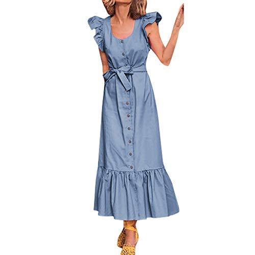 - Goddessvan Hot Womens Sexy Ruffle Sleeve Bow Dress Summer Bohemian Beach Party A-Line Dress Blue