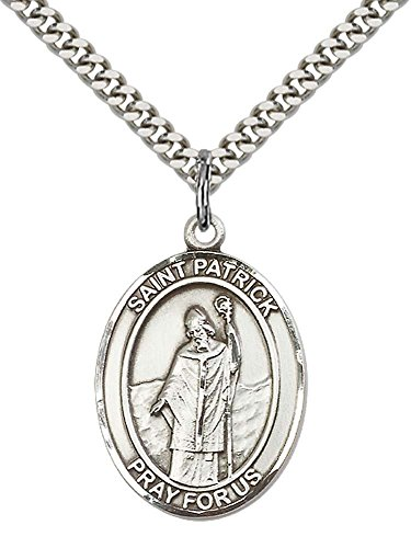 Saint Patrick Necklace (Sterling Silver St. Patrick Pendant with 24
