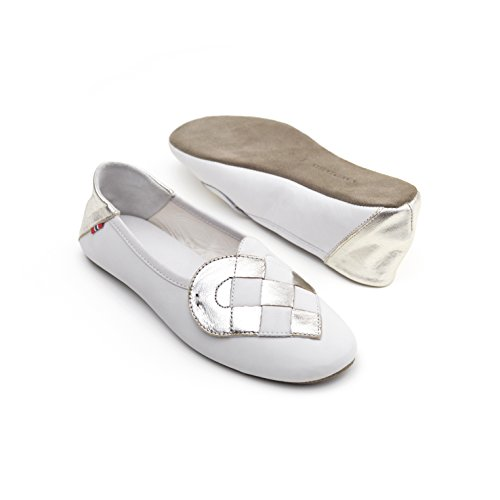 A. Andreassen Women's Italian Leather Elskling Slipper ''White Metallic Pearl'' (9 US 40 EU 41 IT) by A. Andreassen (Image #2)