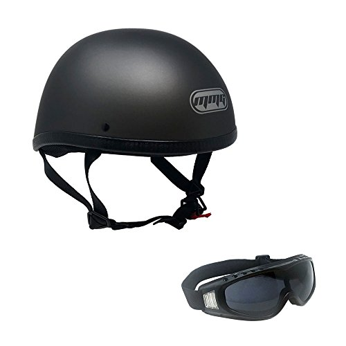 Motorcycle Skull Cap Half Helmet Cruiser DOT Approved - LARGE - Titanium Gray with Smoked Goggles 885