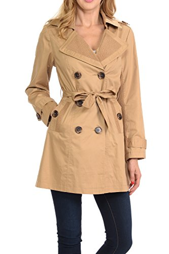 (Auliné Collection Women's Fashion Double Breasted Trench Coat Jacket with Belt Khaki Large)