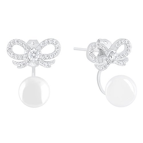 18k Gold Plated Round Simulated Shell Pearl with Cubic Zirconia Bow Stud Earrings (8-8.5 mm)