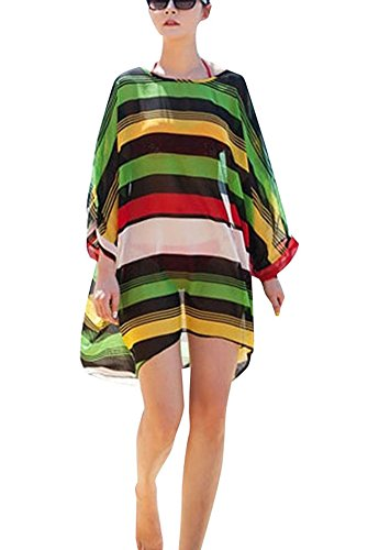 Sexy Women's Oversized Striped Beach Bikini Swimwear Cover-up,Rainbow Stripe (Striped Cover Up)