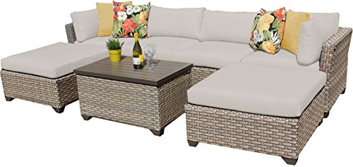 TK Classics MONTEREY-07b 7 Piece Monterey-07B Outdoor Wicker Patio Furniture Set, Beige (Monterey Sectional)