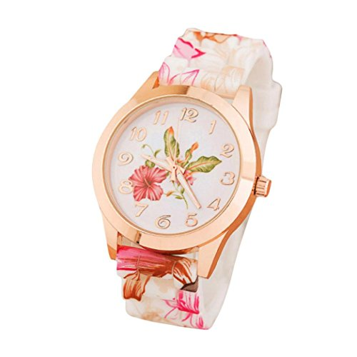 Jaylove Hot Sale Vintage Women Girls' Silicone Watch Floral Printed Causal Quartz Wrist Watches Mother Day Gifts (Pink)
