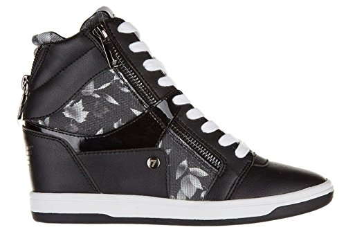 sneakers wedge Black high shoes Emporio Armani trainers women's lux EA7 top black qwRz0