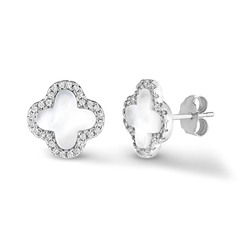 (Sterling Silver 925 Mother Of Pearl And Cubic Zirconia Four Leaf Clover Post Earrings. (Natural Silver))