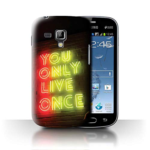 Phone Case for Samsung Galaxy S Duos 2/S7582 Neon Colours YOLO Tube Sign Design Transparent Clear Ultra Slim Thin Hard Back Cover