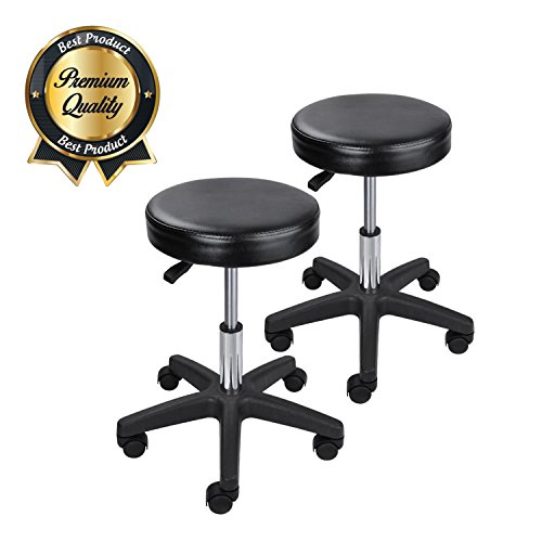 KOVAL INC. Salon Rolling Hydraulic Black Leather Stools (2)