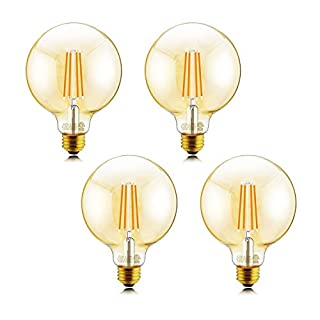 Helloify G25 Amber Glass Globe Decorative Dimmable Vintage LED Edison Bulb, 60W Equivalent, High Brightness Filament Lamp, Warm White 2500K, Antique Style, E26 Screw Base