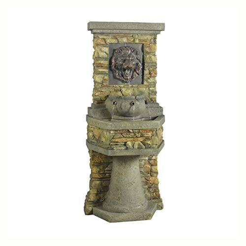 (Outdoor Fountains, Indoor/Outdoor Water Fountain with Bronze Hued Lion Head)