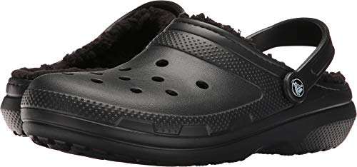 Crocs Classic Lined Clog Mule, Black/Black, 6 US Men / 8 US Women