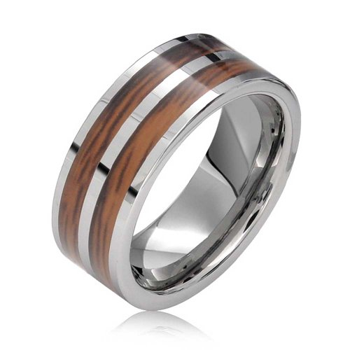 Bling Jewelry Double Row Koa Wood Inlay Titanium Wedding Band Rings for Men for Women Silver Tone Comfort Fit 8MM