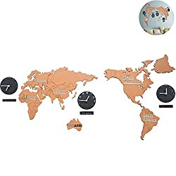 WINGOFFLY Creative DIY Home Decoration World Map Wall Clocks World Time Hanging Clocks (Brown 53)