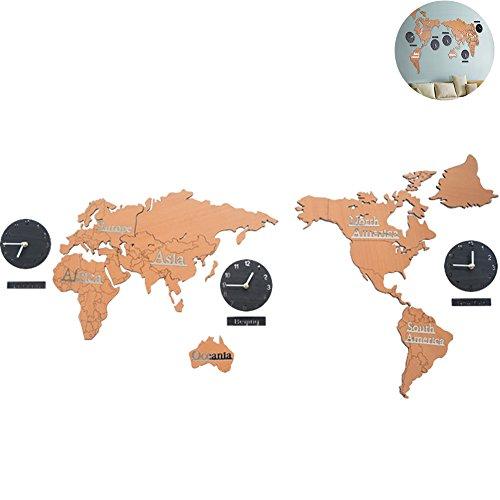 IY Home Decoration World Map Wall Clocks World Time Hanging Clocks (Brown 53
