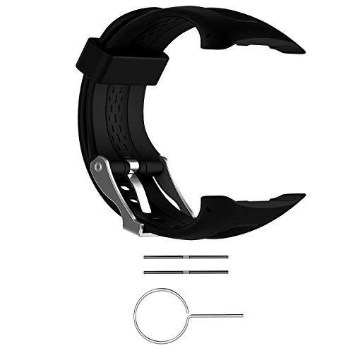 Replacement Band for Garmin Forerunner 10/15 for Women/Man - TenYun Silicone Wristband Strap/Bands for Garmin Forerunner 10/Garmin Forerunner 15 (Black, Large Size 0.98 X 0.94)