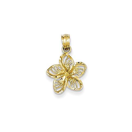 14k Yellow Gold Diamond-cut Filigree Plumeria Pendant 19.5mm Length
