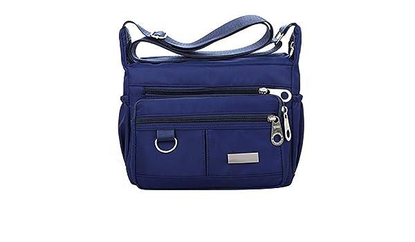 Aelicy dropship new hot selling Women Fashion Solid Color Zipper Waterproof Nylon Shoulder Bag Crossbody Bag bolsa feminina Color Navy Blue: Handbags: ...