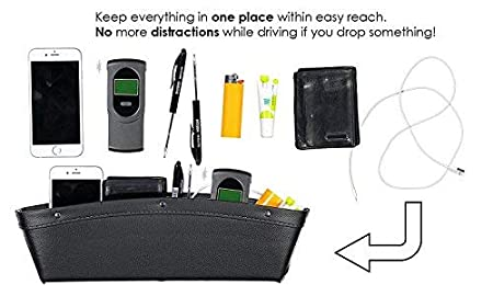 Seat Gap Filler /& Typical Dude Gadget Act As Catch Caddy /& Car Seat Storage for Your Vehicle Uport Solutions Set of 2 Leather Car Pocket Organizer Black//Silver
