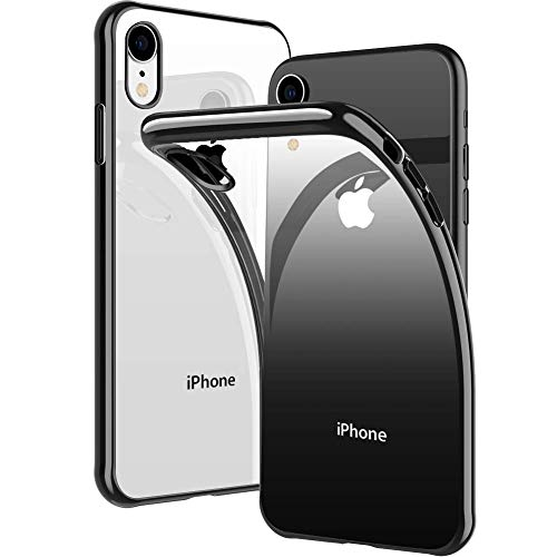 (iPhone XR Case, DIACLARA Clear Slim Fit Soft TPU Cover with Electroplated Bumper Ultra Thin Case Compatible with Apple iPhone XR 6.1 Inch 2018, Black Edge)