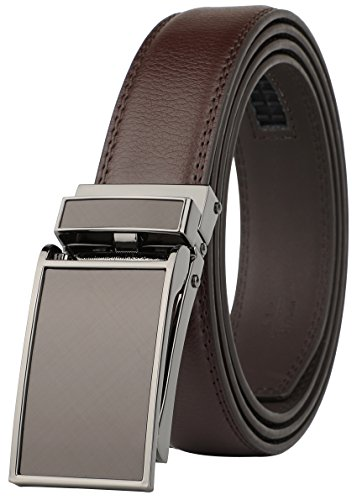 Belt for Men, Genuine Leather Ratchet Dress Comfort Belt with Slide Click Buckle, Trim to Fit (28