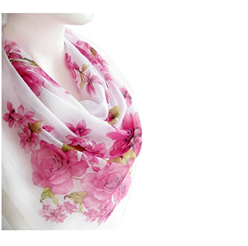 White Pale Pink Flowers Elegant Spring Scarf Women's Fashion Accessories Soft Cotton Large Square Print Scarf Shawl Wrap 38 x 38 inches