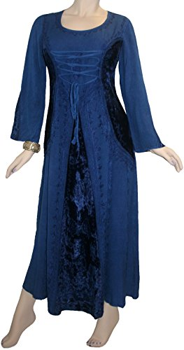 204 DR Peasant Bohemian Velvet Corset Long Dress [Navy Blue; (Rennaisance Dress)