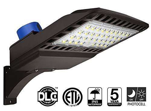 (LED Parking Lot Lighting 150W - Dusk to Dawn With Photocell 5000K LED Shoebox Pole Light 19500lm Outdoor Commercial Lighting IP65 Slip Fit Mount for Large Area Street Parking Lot Lights)