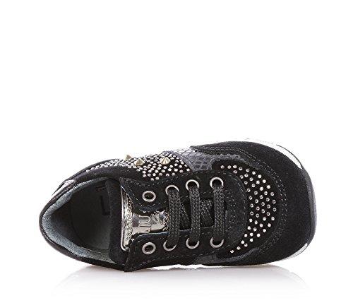 LIU JO - Chaussure à lacets noire, en suède et cuir, avec logo sur la languette, application de petits clous et strass sur le côté et à l'avant, fille, filles