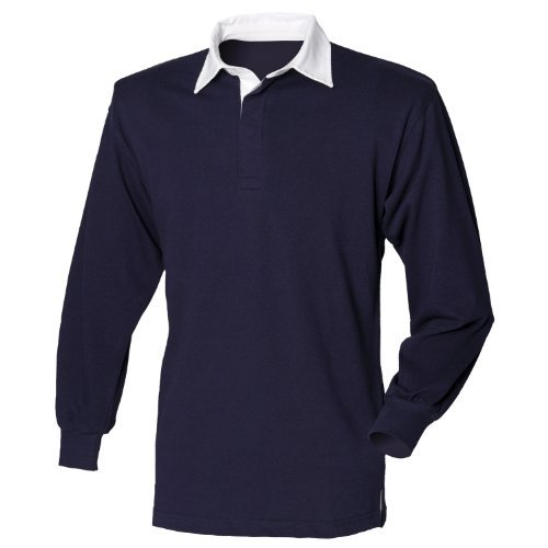 Front Row Long Sleeve Classic Rugby Polo Shirt (L) (Navy/White)