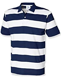 Front Row Men's Short Sleeve Striped Pique Polo Shirt
