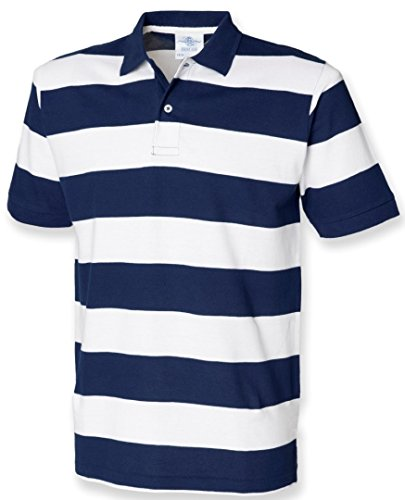 Front Row Men's Short Sleeve Striped Pique Polo Shirt Navy/White L
