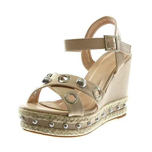 Angkorly Damen Schuhe Sandalen Mule - Knöchelriemen - Plateauschuhe - Perforiert - Perle - Nieten - Besetzt Keilabsatz High Heel 12 cm Nude