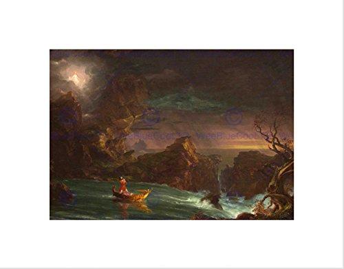 THOMAS COLE AMERICAN VOYAGE LIFE MANHOOD BLACK FRAMED ART PRINT PICTURE B12X5425 (Thomas Cole Oil)