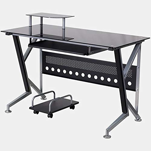 26.5' Work Surface - Metal Desk with Glass Top and Keyboard Tray - Rectangular Computer Desk with Angled Legs - Black