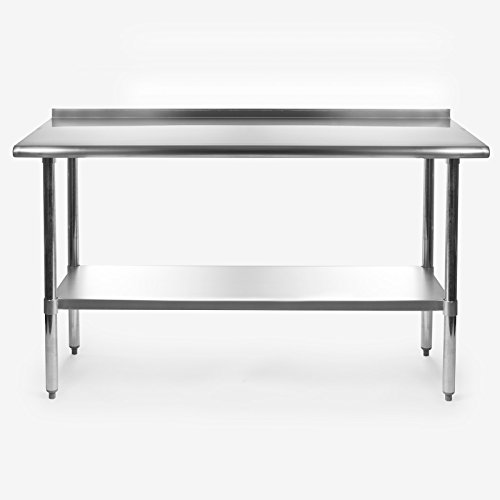 Gridmann NSF Stainless Steel Commercial Kitchen Prep & Work Table w/ Backsplash - 60 in. x 24 in. - smallkitchenideas.us