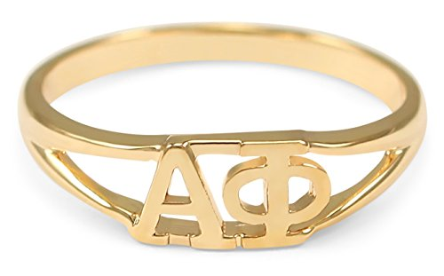 Alpha Phi 14k Gold Plated Sorority Ring with Greek letters