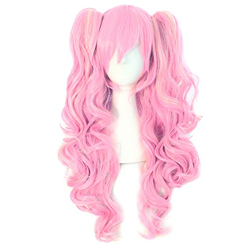 MapofBeauty Multi-color Lolita Long Curly Clip on Ponytails Cosplay Wig (Pink/Blonde)]()