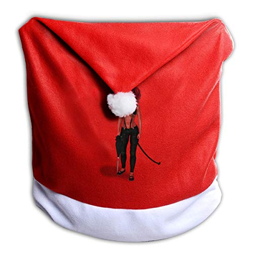 Cool Halloween Sexy Red Skin Female Devil Non-Woven Xmas Christmas Themed Dinner Chair Cap Hat Covers Set Ornaments Backers Protector for Seat Slipcovers Wraps Coverings Decorations