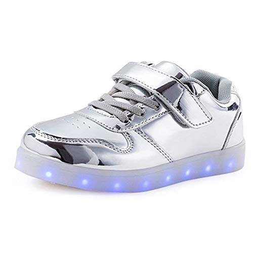 7 KEALUX Shiny Charging Sneaker Colors Top Low Lace Night LED Silver up USB Shoes Sport BqpqxwIg