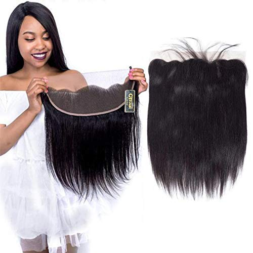 QTHAIR 10A Free Part 13x4 Ear to Ear Lace Frontal Closure Straight Hair 18 inch Brazilian Straight Hair Full Lace Closure Ear to Ear Natural Black Color no Bleached Knots … ()