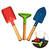 GUOfeudallord 3-Piece Set Kids Garden Tools, Gardening Tools Three-Piece Small Shovel Scorpion Plant Potted Planting Manual Mini Wooden Handle Beach Toy Shovel for Children