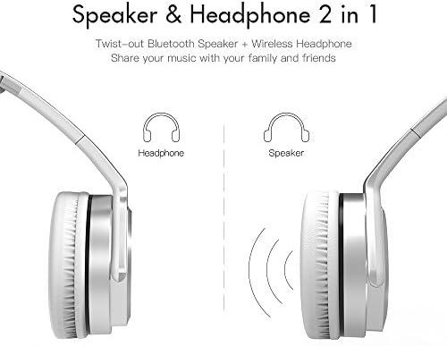 VEENAX HS3 Auriculares Inalámbricos Over-Ear, Altavoz Portátil, Cascos Bluetooth Deportivos & Altavoz en uno, Audífonos Estéreo con Micrófono NFC y Bajos para iPhone Smartphone MP3 Tablet MP3, Plata: Amazon.es: Electrónica